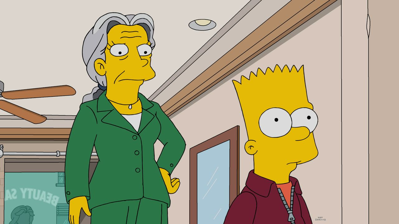 Durch einen Zufall hat Bart (r.) eine glorreiche Geschäftsidee. Er verbringt Zeit mit alten einsamen Frauen wie Phoebe (l.) und kassiert im Gegenzug... - Bildquelle: 2016-2017 Fox and its related entities. All rights reserved.
