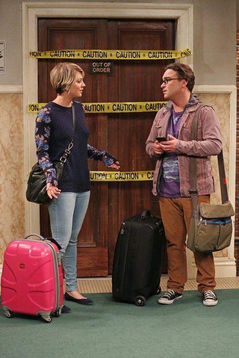 Eigentlich ist ein Trip nach New Jersey geplant, doch dann müssen Leonard (Johnny Galecki, r.) und Penny (Kaley Cuoco, l.) zuhause bleiben ... - Bildquelle: Warner Bros. Television