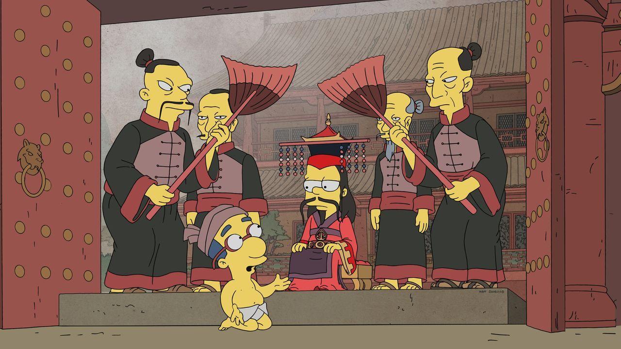 Findet sich Bart (M.) durch ein Buch in einer Fantasiewelt wieder, in der auch Milhouse (vorne) eine Rolle spielt? - Bildquelle: 2017-2018 Fox and its related entities.  All rights reserved.