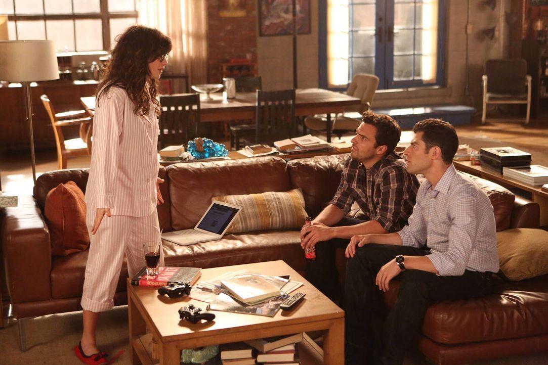 Jess (Zooey Deschanel, l.) verliert ihren Job. Schmidt (Max Greenfield, r.) und Nick (Jake M. Johnson, M.) befürchten, dass sie im Tal der Tränen ve... - Bildquelle: 2012 Twentieth Century Fox Film Corporation. All rights reserved.