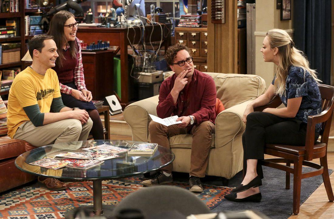 (v.l.n.r.) Sheldon (Jim Parsons); Amy (Mayim Bialik); Leonard (Johnny Galecki); Penny (Kaley Cuoco) - Bildquelle: Warner Bros. Television