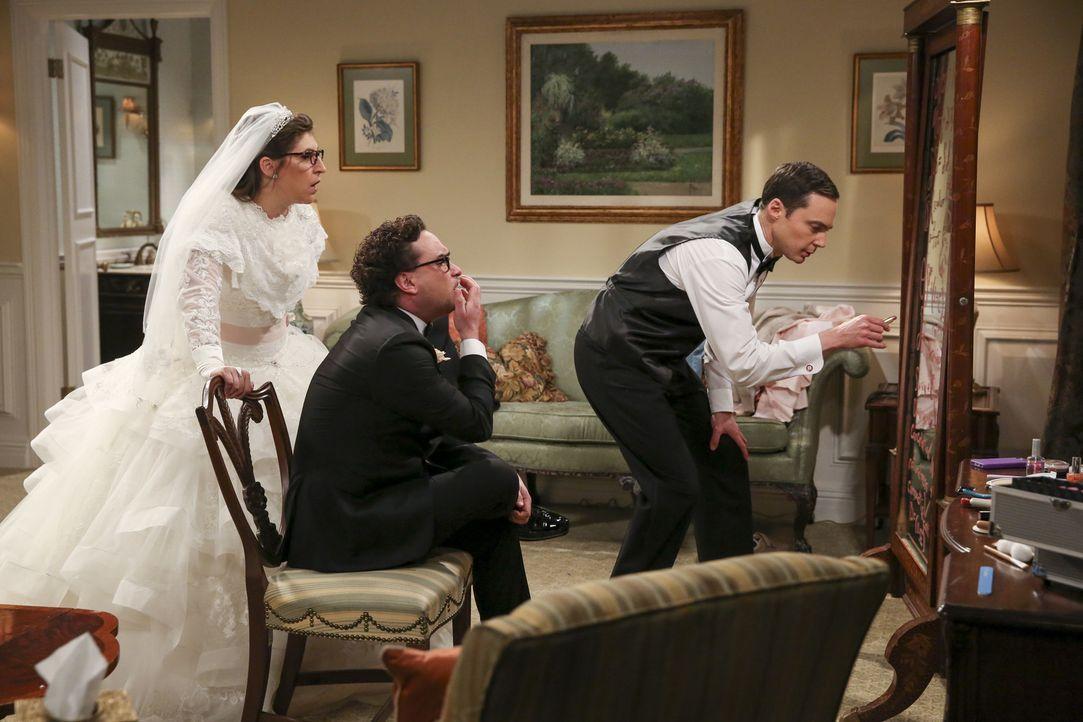 Ausgerechnet kurz vor der Trauung hat Sheldon (Jim Parsons, r.) einen wissenschaftlichen Geistesblitz, den er unbedingt mit Amy (Mayim Bialik, l.) u... - Bildquelle: Warner Bros. Television