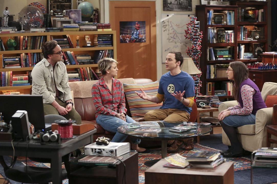 Leonard (Johnny Galecki, l.) und Penny (Kaley Cuoco, 2.v.l.) werden von Sheldon (Jim Parsons, 2.v.r.) und Amy (Mayim Bialik, r.) mit der Ansage über... - Bildquelle: Warner Bros. Television