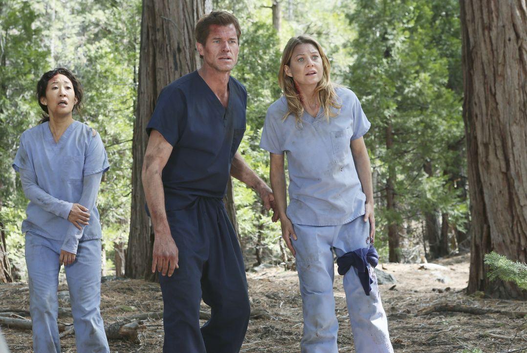 Das Ausmaß des Flugzeugabsturz ist Mark (Eric Dane, M.), Meredith (Ellen Pompeo, r.) und Cristina (Sandra Oh, l.) noch nicht ganz bewusst ... - Bildquelle: Touchstone Television