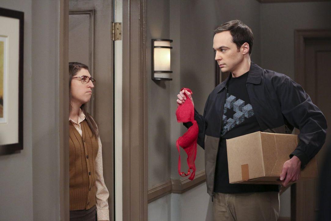 Sheldons (Jim Parsons, r.) Plan Amy (Mayim Bialik, l.) mit Pennys BH eifersüchtig zu machen, scheint nicht aufzugehen ... - Bildquelle: 2015 Warner Brothers