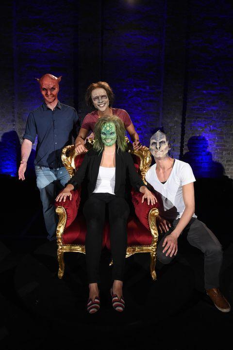 Eidechse Denise (vorne) hat die Qual der Wahl, denn schließlich haben Alien Willie (r.), Zombie Hai (M.) und Teufel Wilhelm (l.) alle etwas zu biete... - Bildquelle: Andre Kowalski sixx