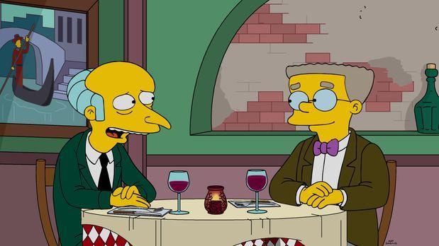 Smithers (r.) ist mal wieder frustriert, weil er bei Burns (l.) total abgebli...