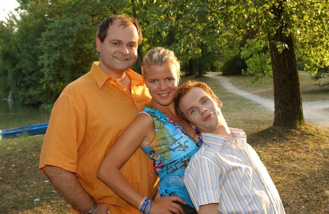 """v.l.n.r.: Markus Majowski, Mirja Boes, Ralf Schmitz sind die """"Dreisten Drei"""". - Bildquelle: Stephen Power Sat.1"""