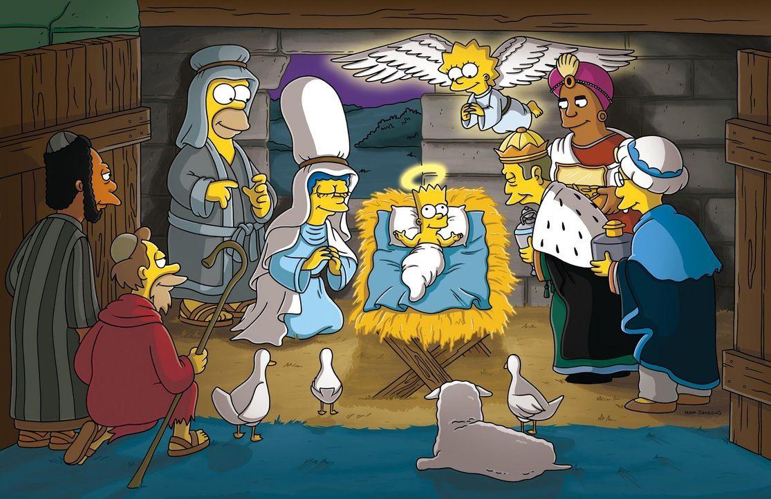 Weihnachten steht vor der Tür, und alle machen sich Gedanken über die Vergangenheit. Marge und Homer schlüpfen in die Rollen von Maria und Joseph... - Bildquelle: und TM Twentieth Century Fox Film Corporation - Alle Rechte vorbehalten