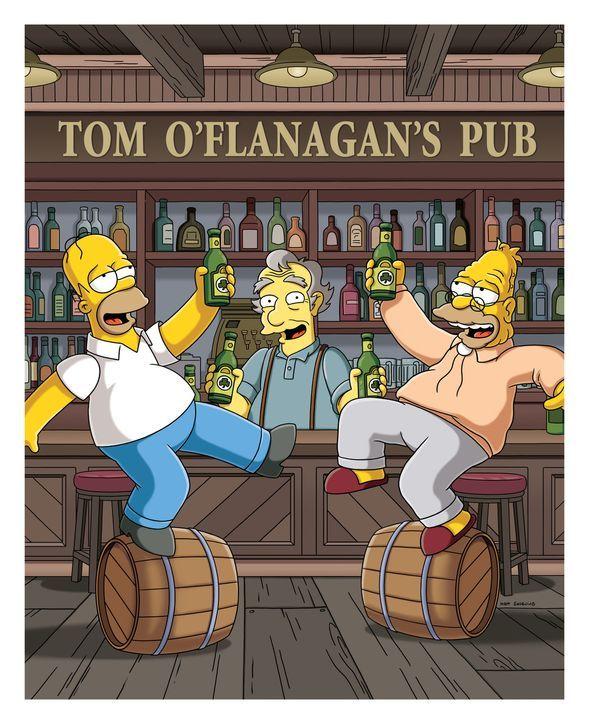 Homer (l.) erfüllt seinem Vater (r.) den sehnlichen Wunsch, noch ein Bier in O'Flanagan's Pub zu trinken. Also machen die Simpsons eine Reise nach... - Bildquelle: und TM Twentieth Century Fox Film Corporation - Alle Rechte vorbehalten