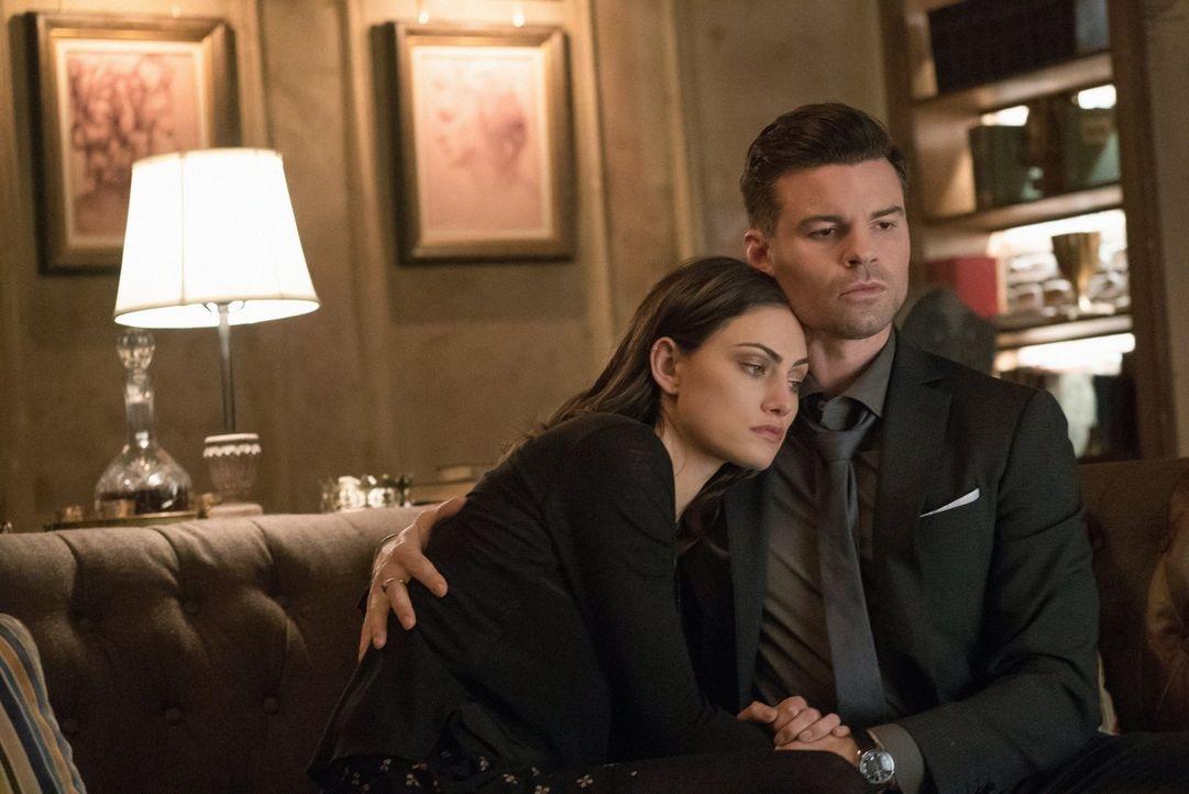 Klaus macht Hayley (Phoebe Tonkin, l.) bewusst, dass auch Elijahs (Daniel Gilles, r.) Unsterblichkeit durch Lucien und die Prophezeiung in Gefahr is... - Bildquelle: Warner Bros. Entertainment, Inc.