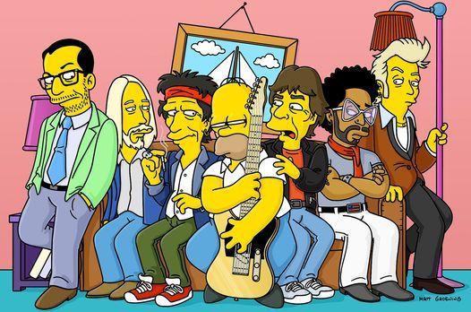 Die Simpsons - Ein Leben wie Mick Jagger (3.v.r.), Elvis Costello (l.), Keith...