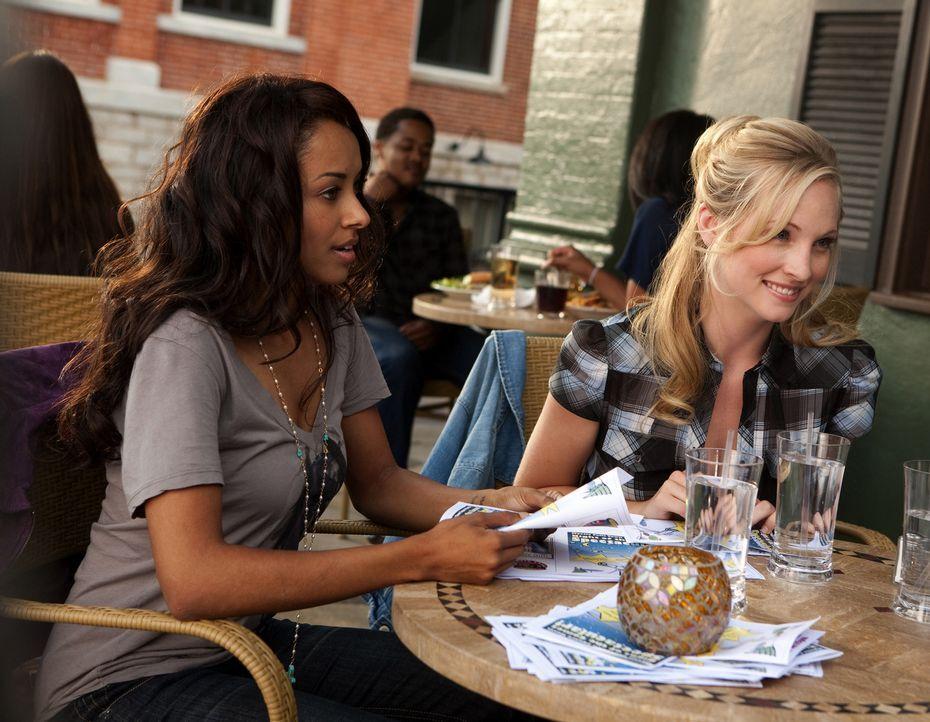 Bonnie (Katerina Graham, l.) und Caroline (Candice Accola, r.) unterhalten sich mit Elena über den neuen Mitschüler Stefan ... - Bildquelle: Warner Brothers