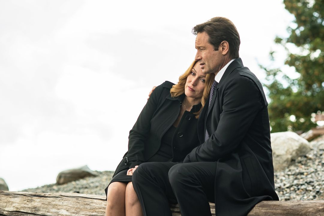 Sucht nach einem Todesfall in der Familie  Rat und Unterstützung bei Mulder (David Duchovny, r.): Scully (Gillian Anderson, l.) ... - Bildquelle: 2016 Fox and its related entities.  All rights reserved.