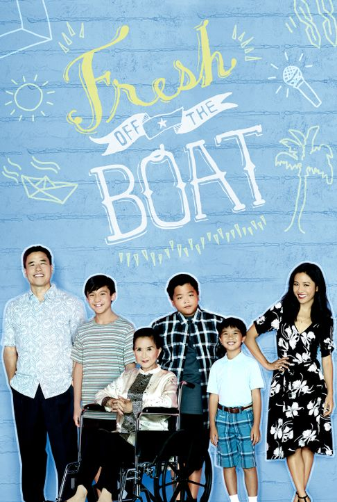 (3. Staffel) - Bei Familie Huang läuft nicht immer alles nach Plan: Louis (Randall Park, l.), Jessica (Constance Wu, r.), Eddie (Hudson Yang, 3.v.r.... - Bildquelle: 2016-2017 American Broadcasting Companies. All rights reserved.