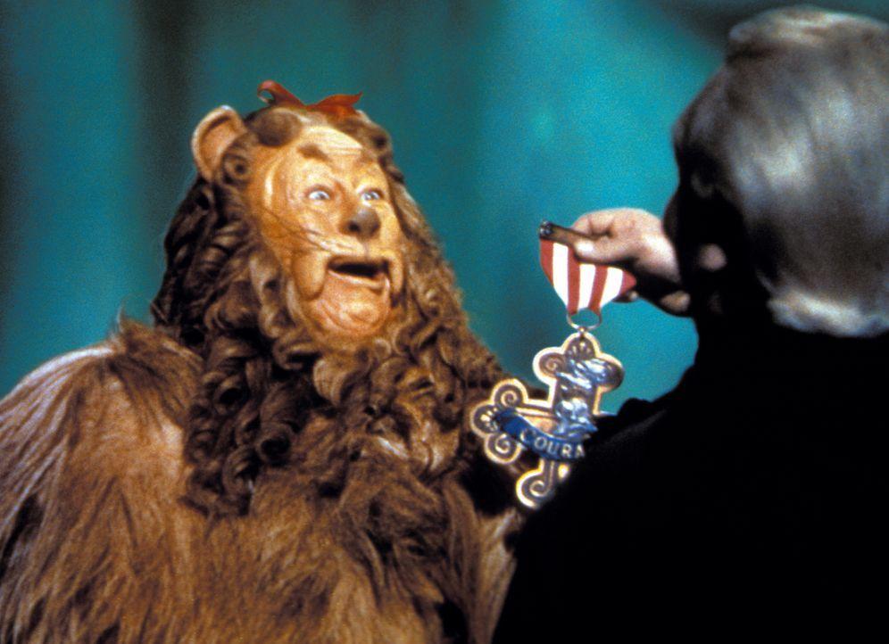 Wird mit der Tapferkeitsmedaille ausgezeichnet: der ängstliche Löwe (Bert Lahr) .... - Bildquelle: Warner Bros.