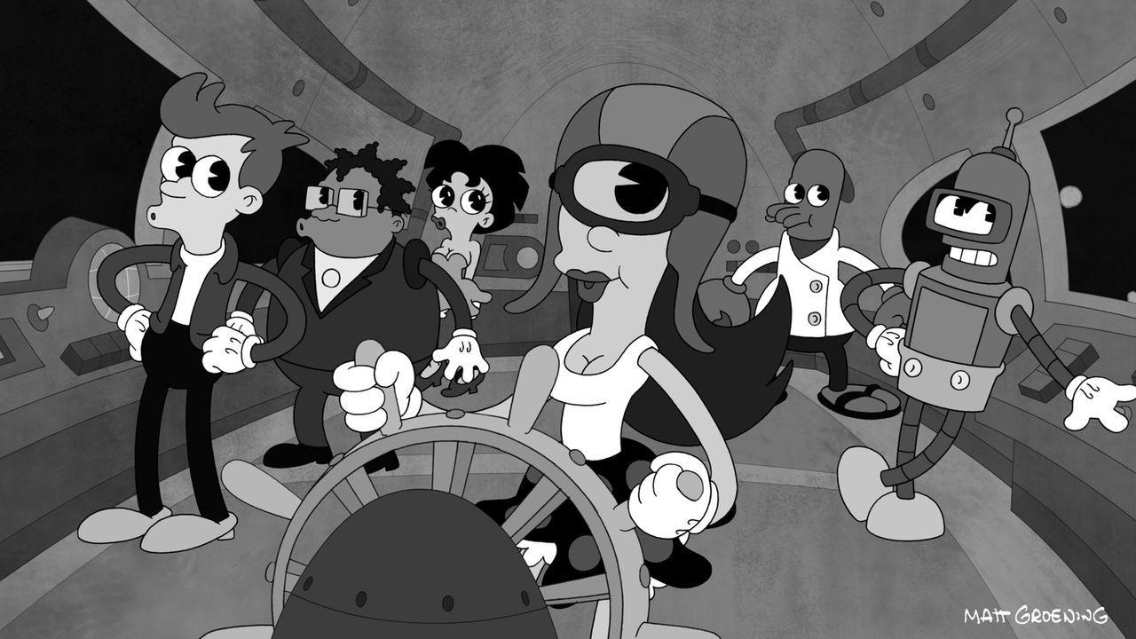 Aliens, die nur durch Tanz kommunizieren, bedrohen die Erde. Verzweifelt versuchen Fry (l.), Hermes (2.v.l.), Amy (3.v.l.), Leela (3.v.r.), Zoidberg... - Bildquelle: 2011 Twentieth Century Fox Film Corporation. All rights reserved.
