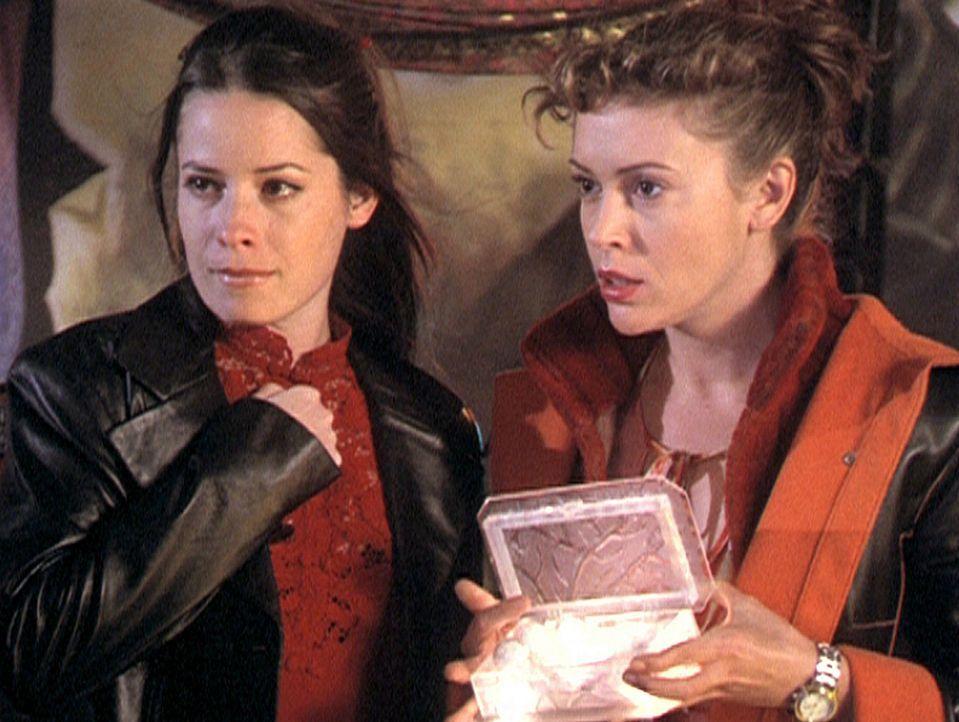 Phoebe (Alyssa Milano, r.) und Piper (Holly Marie Combs, l.) öffnen die Box, die die sieben Todsünden in Form kleiner Kugeln enthält. - Bildquelle: Paramount Pictures