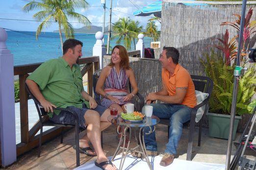 Jolyon (l.) und Sarah (M.) suchen ein Haus in Puerto Rico, doch ihre untersch...