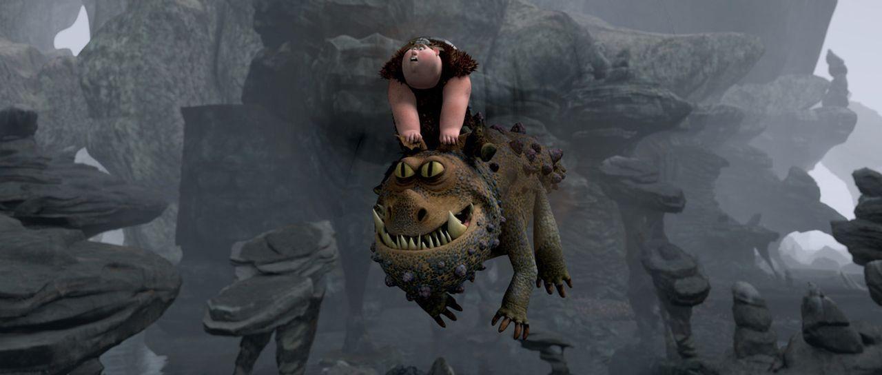 Auch Fischbein hat sich mit einem Drachen zusammengeschlossen, um mit ihm gemeinsam sein Dorf zu beschützen: Der Gronkel und er kämpfen tapfer geg... - Bildquelle: 2012 by DreamWorks Animation LLC. All rights reserved.