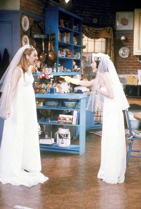 Weil Phoebe (Lisa Kudrow, l.) und Monica (Courteney Cox, r.) von Emily im Brautkleid so begeistert sind, laufen auch sie nur noch in weißen Brautkl... - Bildquelle: TM+  2000 WARNER BROS.