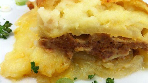 Ofengericht mit Hackfleisch und Kartoffelpüree
