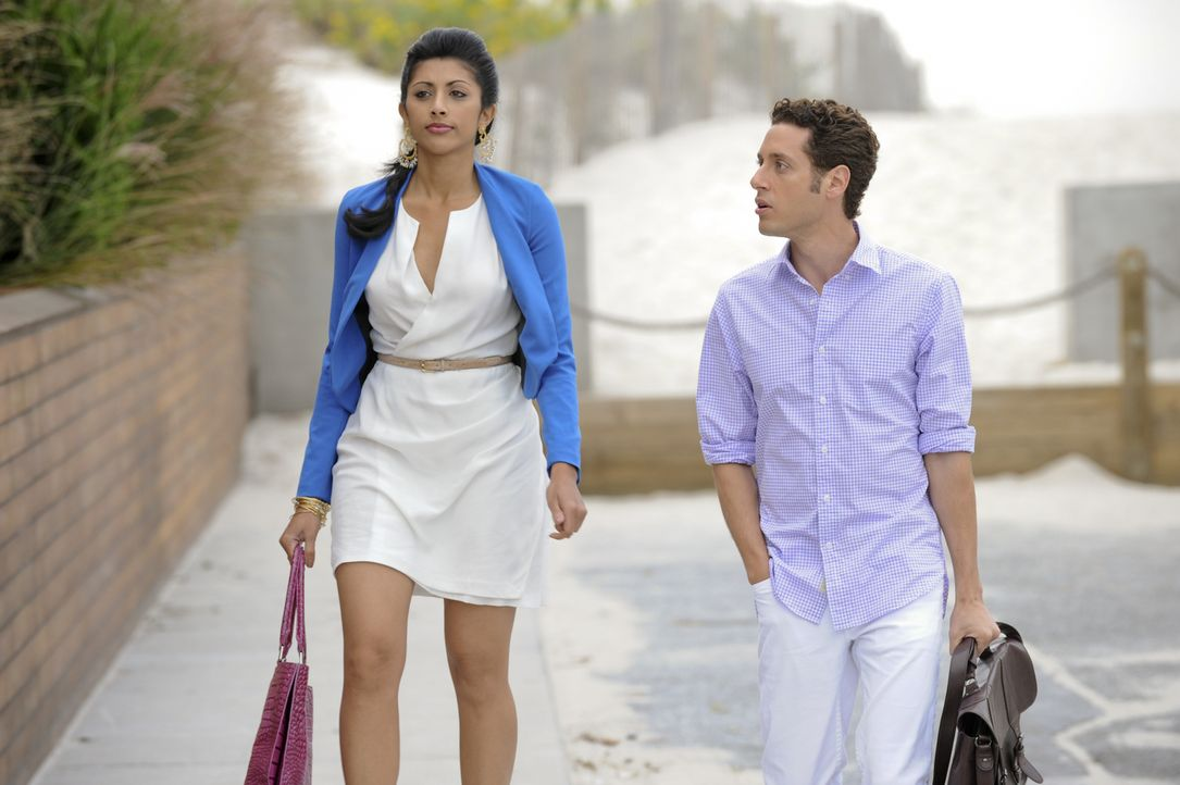 Divya (Reshma Shetty, l.) trifft eine Entscheidung, die nicht nur Evan (Paulo Costanzo, r.), sondern auch Hank und vor allem die Firma erheblich bee... - Bildquelle: David Giesbrecht 2011 Open 4 Business Productions, LLC. All Rights Reserved.