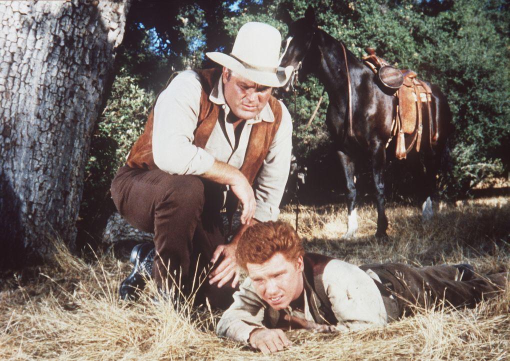 Der tierliebe Skeeter (Eddie Hodges, r.) verletzt sich, als er einen Fuchs aus einer Falle befreien will. Hoss (Dan Blocker, l.) nimmt den Jungen mi... - Bildquelle: Paramount Pictures