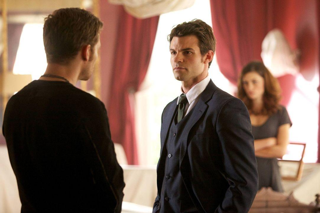 Während Klaus (Joseph Morgan, l.) in seine alte Heimat zurückkehrt, müssen Elijah (Daniel Gillies, M.) und Hayley (Phoebe Tonkin, r.) auf eine Reakt... - Bildquelle: Warner Bros. Television