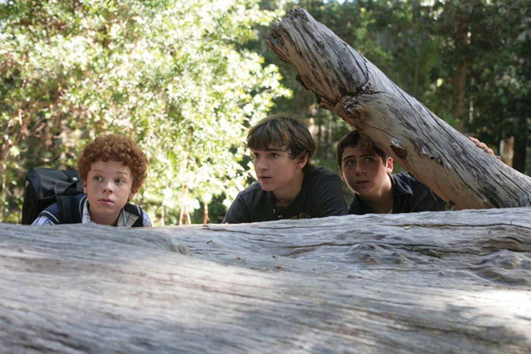 Die drei Fragenzeichen und das verfluchte Schloss: Justus (Chancellor Miller, r.), Peter (Nick Price, M.) und Bob (Cameron Monaghan, l.) ... - Bildquelle: Disney