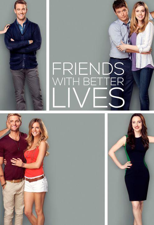 (1. Staffel) - Friends with Better Lives: Will (James Van Der Beek, oben l.), Kate (Zoe Lister Jones, unten r.), Andi (Majandra Delfino, oben r.), B... - Bildquelle: 2013 CBS Broadcasting, Inc. All Rights Reserved.