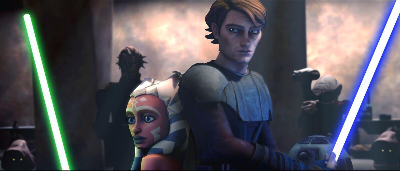 Anakin Skywalker, r. und seine Padawan-Schülerin Ahsoka Tano, l. befinden sich auf einer Mission mit weitreichenden Konsequenzen ... - Bildquelle: 2008   Warner Bros. International Television