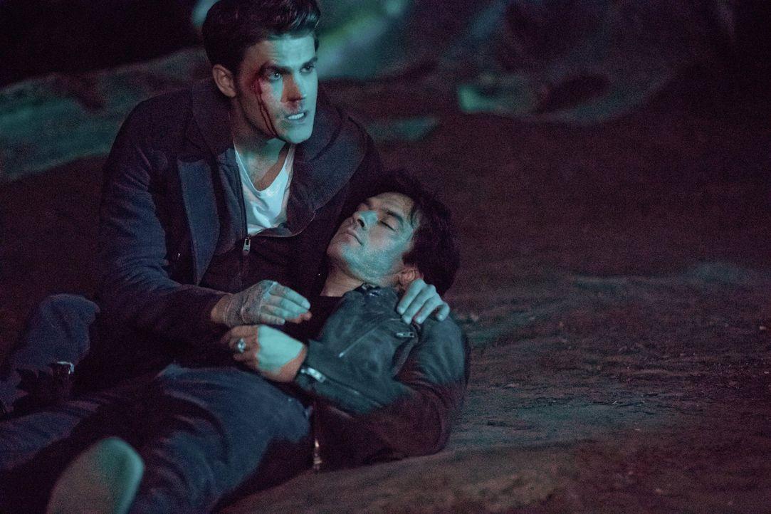 Stefan (Paul Wesley, l.) und Damon (Ian Somerhalder, r.) stellen sich dem Teufel gegenüber, während Caroline und Alaric einsehen müssen, dass sie di... - Bildquelle: Warner Bros. Entertainment, Inc.