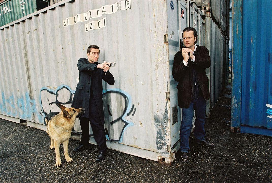 Rex und Marc (Alexander Pschill, l.) sind Possling (Christoph Gareisen, r.) dicht auf den Fersen. - Bildquelle: Ali Schafler Sat.1