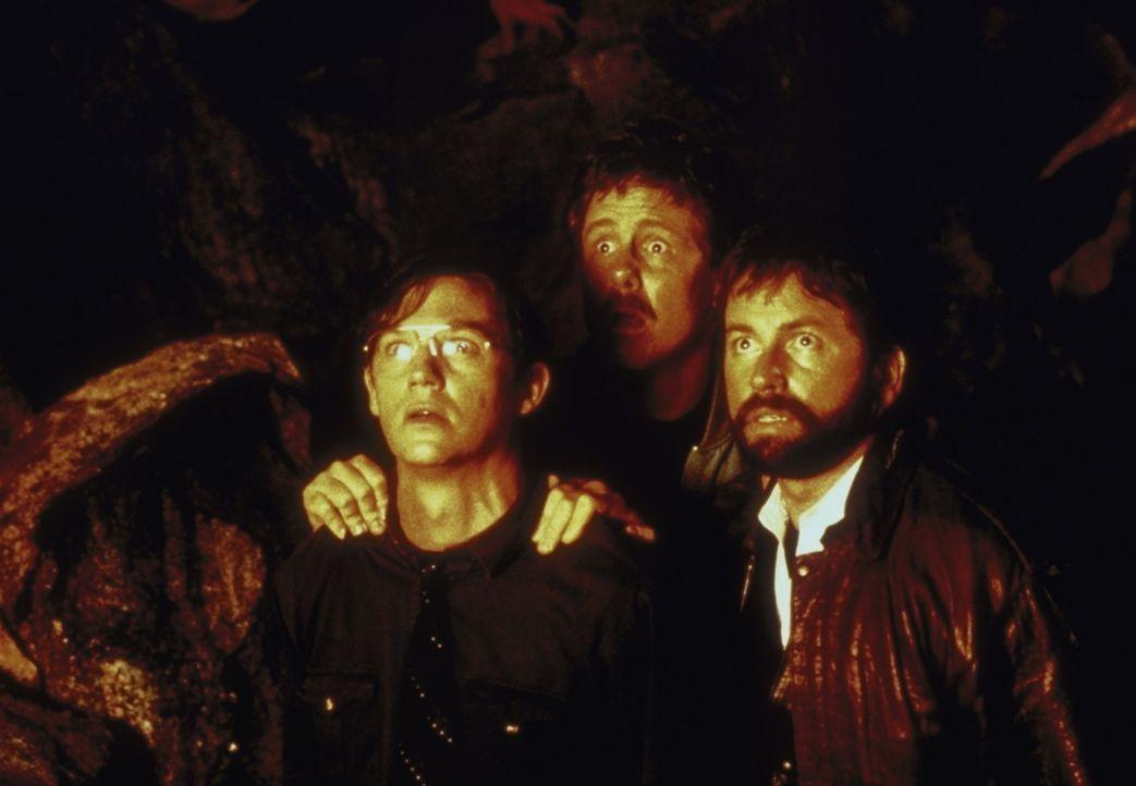 Plötzlich stehen Bill (Richard Thomas, l.), Richie (Dennis Christopher, M.) und Ben (John Ritter, r.) Pennywise gegenüber. - Bildquelle: Warner Bros.