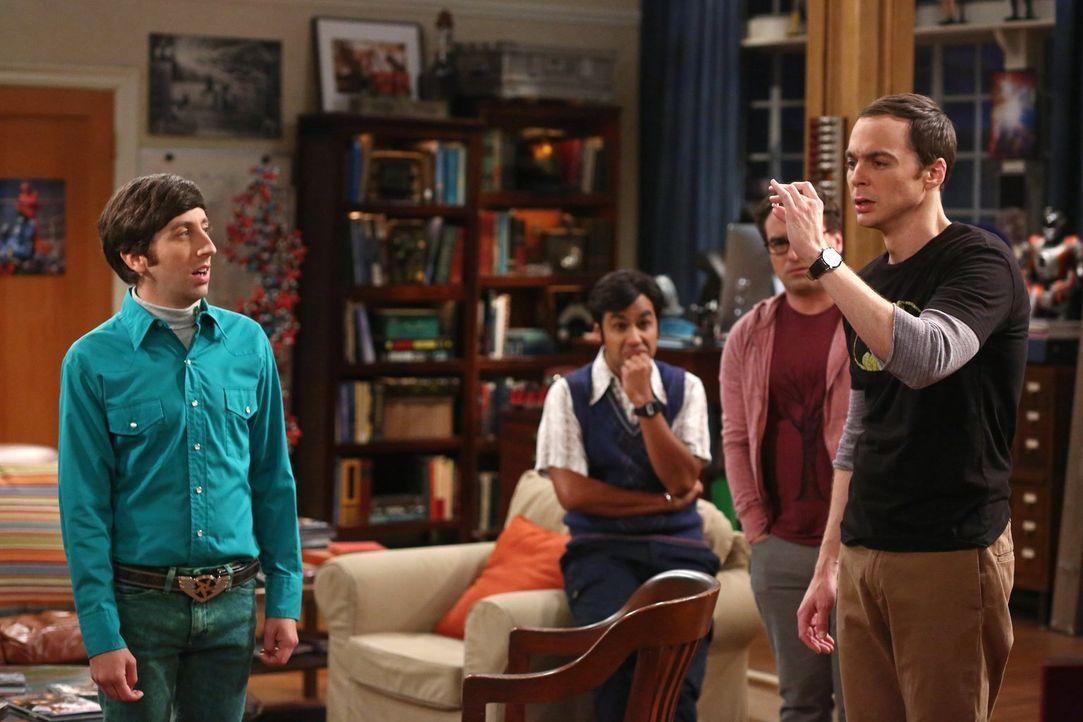 Sheldon (Jim Parsons, r.) ist immer wieder dafür zu haben, seine Freunde Howard (Simon Helberg, l.), Leonard (Johnny Galecki, 2.v.r.) und Raj (Kunal... - Bildquelle: Warner Brothers