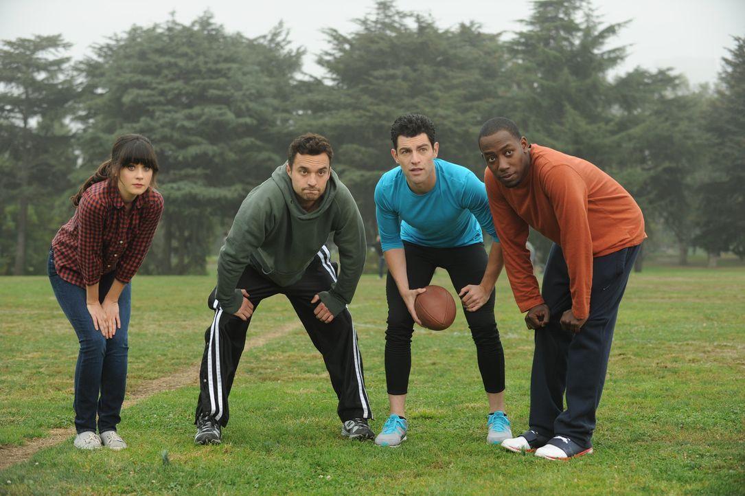 Bei einem gemeinsamen Football-Nachmittag mit Jess (Zooey Deschanel, l.), Schmidt (Max Greenfield, 2.v.r.) und Winston (Lamorne Morris, r.) verletzt... - Bildquelle: 20th Century Fox