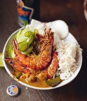 Rotes Thai-Curry mit Riesengarnelenen und Jasminreis