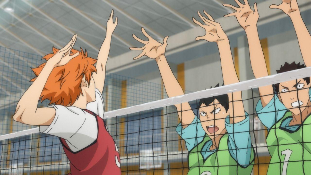 """(v.r.n.l.) Shoyo Hinata; Yutaro Kindaichi; Issei Matsukawa - Bildquelle: H.Furudate / Shueisha,""""Haikyu!!?Project,MBS"""