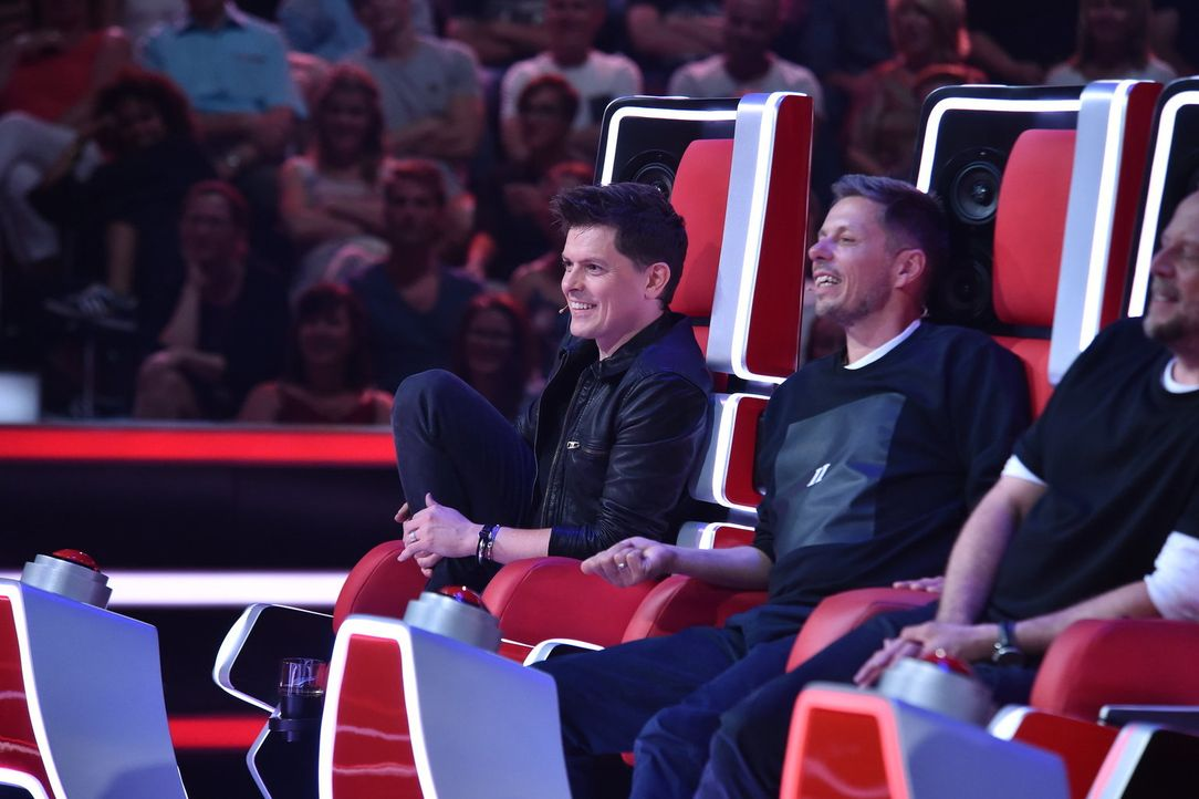 "Suchen ""The Voice of Germany"": (v.l.n.r.) Michael Patrick Kelly, Michi Beck und Smudo ... - Bildquelle: Andre Kowalski SAT.1/Andre Kowalski"