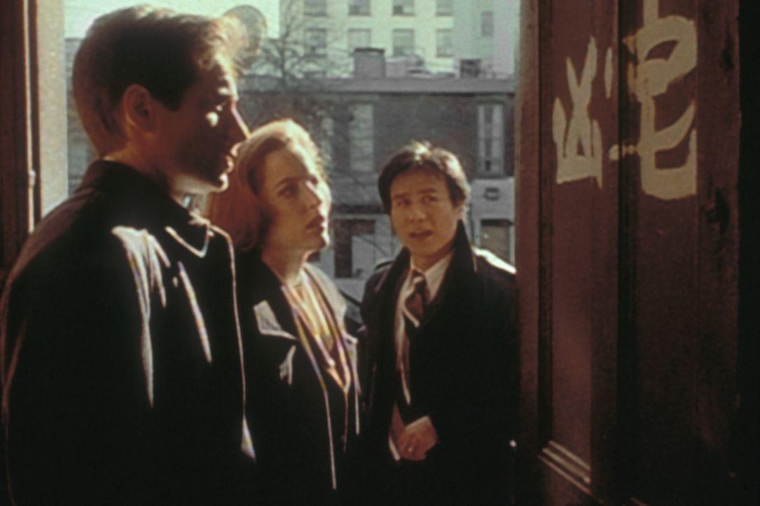 Obwohl Detective Glen Chao (B.D. Wong, r.) chinesischer Abstammung ist, kann er die Schriftzeichen an der Wohnungstür eines Mordopfers für Mulder (D... - Bildquelle: TM +   2000 Twentieth Century Fox Film Corporation. All Rights Reserved.
