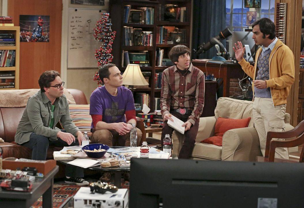 Während Leonard (Johnny Galecki, l.), Sheldon (Jim Parsons, 2.v.l.) und Howard (Simon Helberg, 2.v.r.) eigentlich nur etwas essen wollen, strengt si... - Bildquelle: Warner Bros. Television