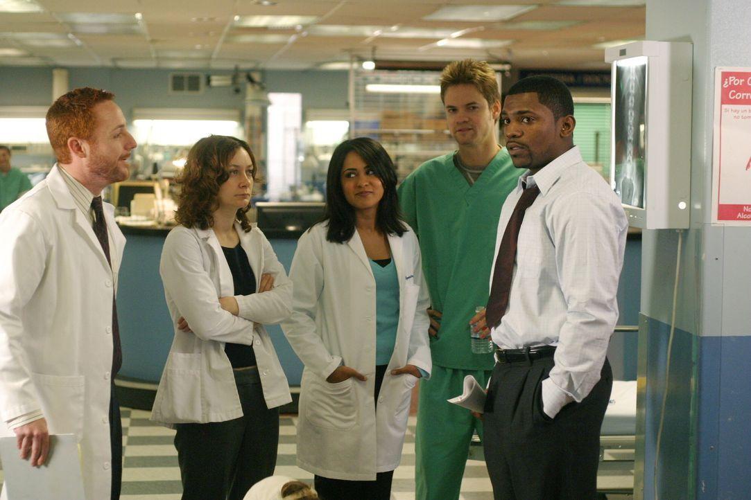 Abbys erster Arbeitstag nach ihrer Entführung: Gespannt warten Morris (Scott Grimes, l.), Jane (Sara Gilbert, 2.v.l.), Neela (Parminder Nagra, M.),... - Bildquelle: WARNER BROS