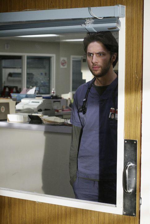 Während der Arbeit sieht J.D. (Zach Braff)  merkwürdige Kreaturen ... - Bildquelle: Touchstone Television