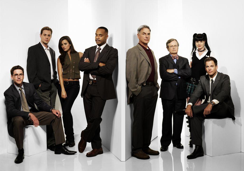 (6. Staffel) - Die Mitglieder des Naval Criminal Investigation Service: Leon Vance (Rocky Carroll, 4.v.l.), Tim McGee (Sean Murray, 2.v.l.), Dr. Don... - Bildquelle: CBS Television