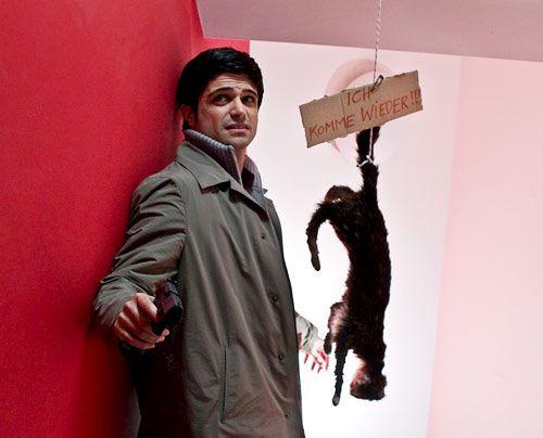 Als Andreas (Maximilian Grill) in dem Haus der Ermordeten einen Warnhinweis nebst aufgehängter Katze entdeckt, ahnt er, dass der Mörder sein Opfer... - Bildquelle: Martin Rottenkolber - Sat1