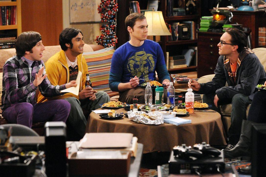Haben so ihre ganz eigenen Probleme: Sheldon (Jim Parsons, 2.v.r.), Rajesh (Kunal Nayyar, 2.v.l.), Leonard (Johnny Galecki, r.) und Howard (Simon He... - Bildquelle: Warner Bros. Television