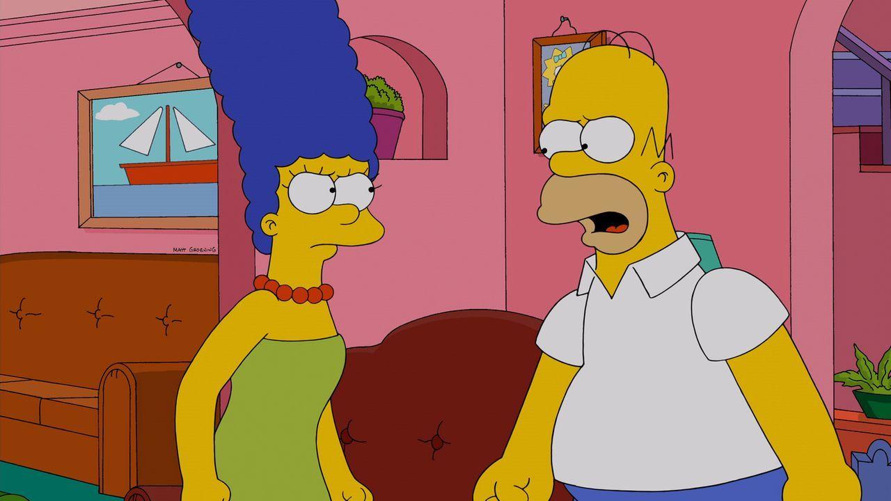 Während Bart sich erneut in Mary Spuckler verliebt, wird Homer (r.) von Marge (l.) vor die Tür gesetzt ... - Bildquelle: und TM Twentieth Century Fox Film Corporation - Alle Rechte vorbehalten