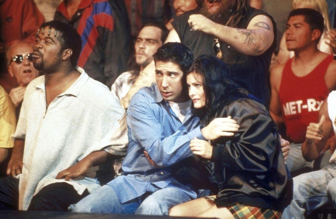 Ross (David Schwimmer, Mitte l.) und Monica (Courteney Cox, Mitte r.) fiebern beim Boxkampf mit. - Bildquelle: TM+  2000 WARNER BROS.