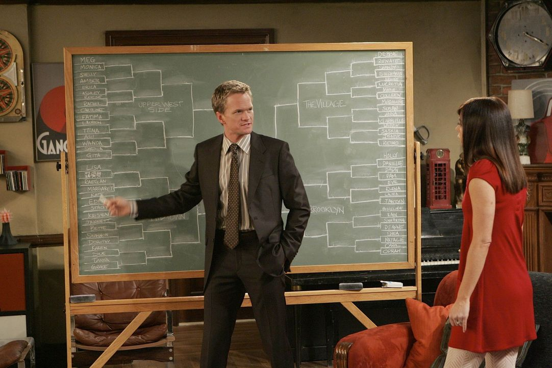 """Nachdem Lily (Alyson Hanningan, r.) in einer Bar vor Barney (Neil Patrick Harris, l.) gewarnt wurde, interessiert ihn nur noch eines: Wer die """"Warne... - Bildquelle: 20th Century Fox International Television"""